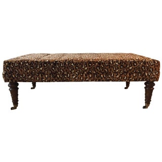 George Smith-Style Leopard Upholstered Bench-Brass Casters