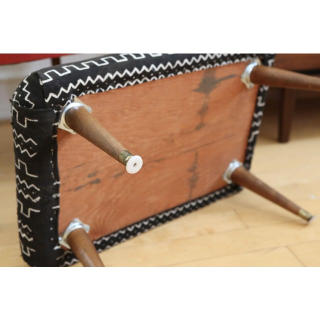 Mid-Century Modern Authentic African Mud Cloth From Mali Footstool - Image 5 of 7