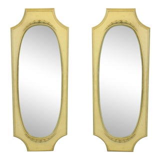 Pair of Mid Century Yellow Mirrors, Resin Mirrors