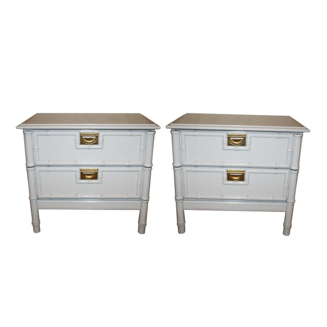 Image of Vintage Faux-Bamboo Nightstands - A Pair