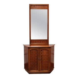 Walnut Entryway Storage Cabinet With Mirror