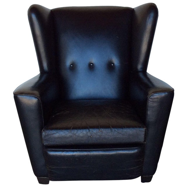 Image of Vintage Black Leather Wing Chair