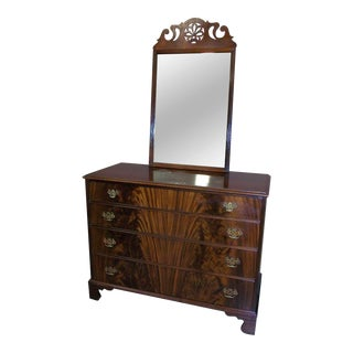Johnson Furniture Co. Crotch Mahogany Dresser & Beveled Mirror