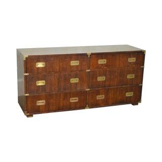 Henredon Vintage Walnut Campaign Style Long Dresser