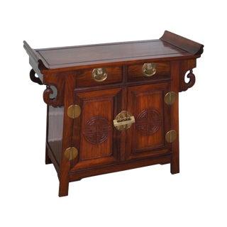 Vintage Chinese Rosewood Alter Console Cabinet