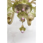 Image of 1930s, Louis XV Style, Green and Pink Murano Glass Chandelier and Two Sconces