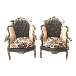 Floral Silver Leaf Italian Armchairs - A Pair