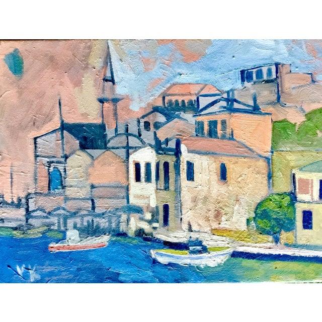 """Mediterranean Harbor"" Original Oil Painting - Image 3 of 3"