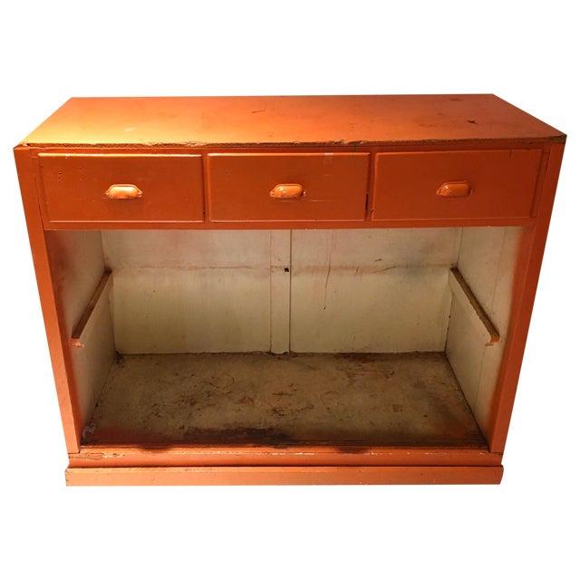 Vintage Orange Rustic Storage Cabinet - Image 1 of 4