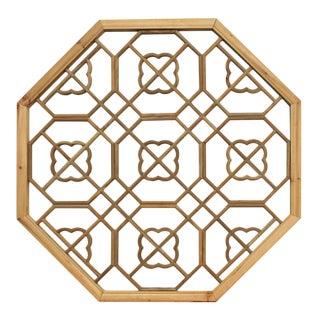 Chinese Raw Wood Octagon Flower Geometric Pattern Wall Panel