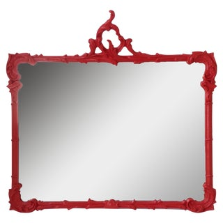Antique French Red Lacquered Mirror