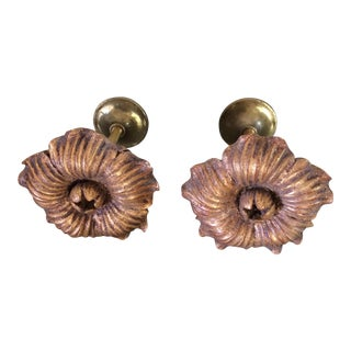 Houles Gilt Wooden Rosette Tieback- A Pair