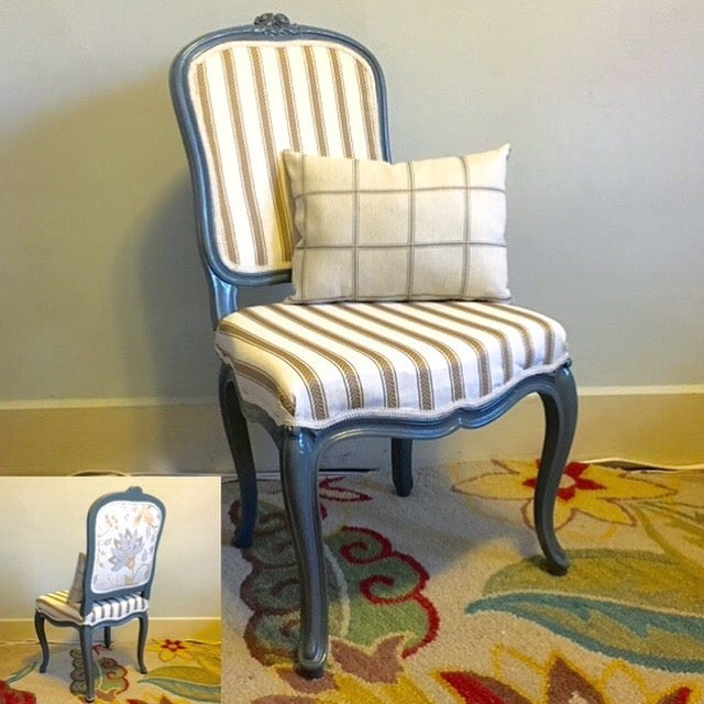 Antique Yellow & Gray Stripe Chair - Image 6 of 7