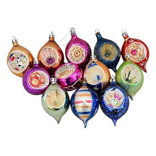 Fancy Indent European Christmas Ornaments w/Box - Set of 12