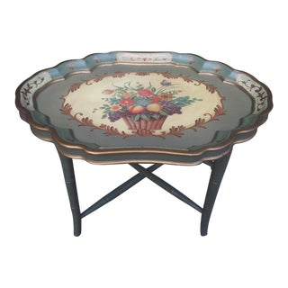 Removable Tray Top with Folding Leg Floral Tea Table