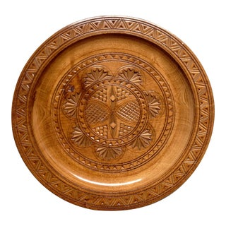 Italian Hand Carved Wood Plate