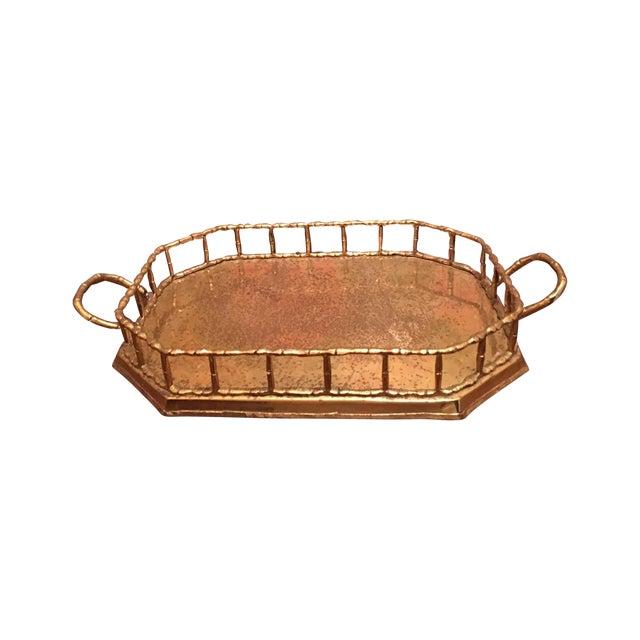 Hollywood Regency Bamboo Brass Tray - Image 1 of 5