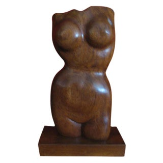 Nat Werner Mid-Century Nude Walnut Sculpture