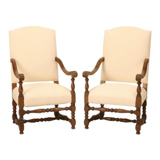 French White Upholstered Armchairs - A Pair