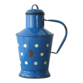 Vintage Blue Pitcher with Polka Dots