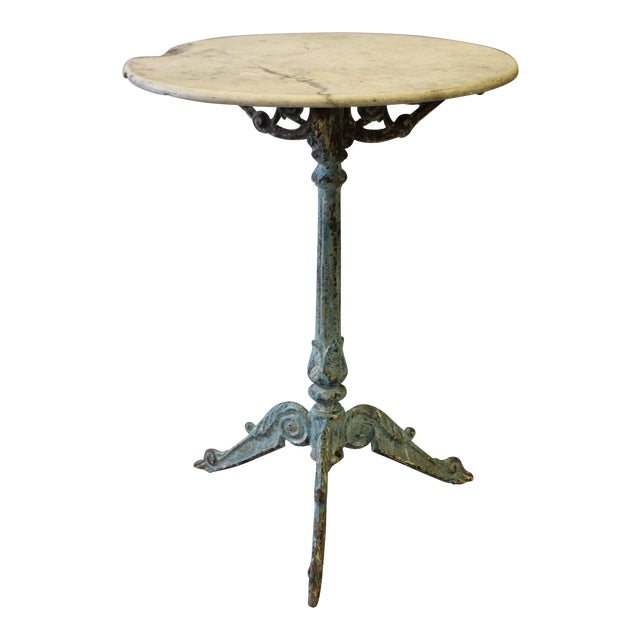 Marble Bistro Accent Table: French Round Marble & Cast Iron Bistro Table