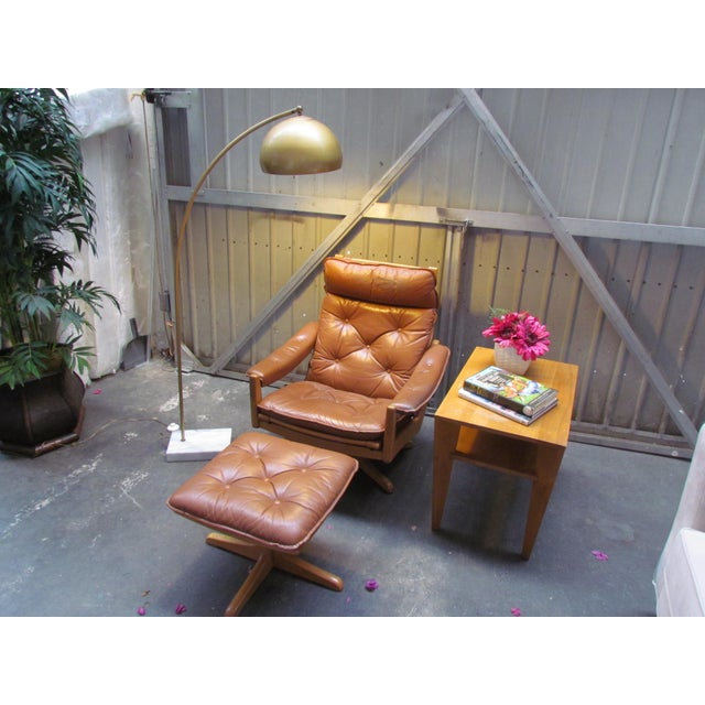 Lied Mobler Mid-Century Leather Recliner Chair & Ottoman - Image 3 of 9