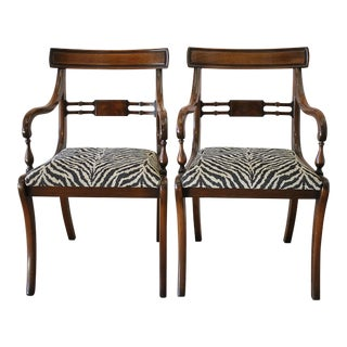 Mahogany Wood Open Armchairs - A Pair