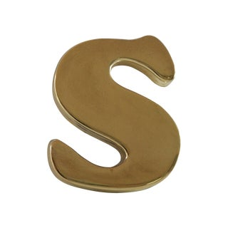 """Vintage Brass Letter """"S"""" Paper Weight"""