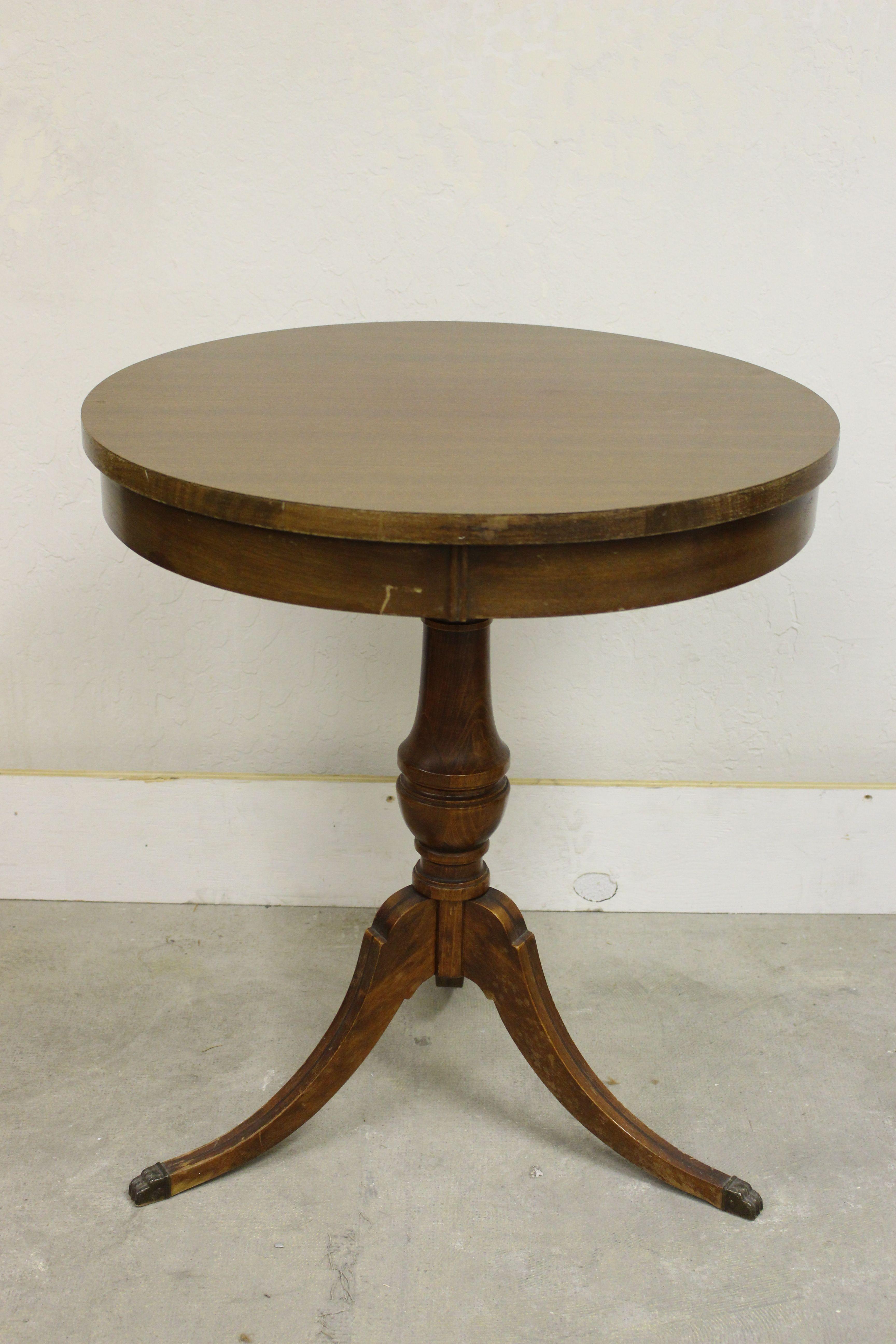 Antique Round Top Mersman Pedestal Table | Chairish