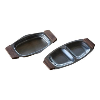 Small Danish Modern Stainless Serving Trays - a Pair