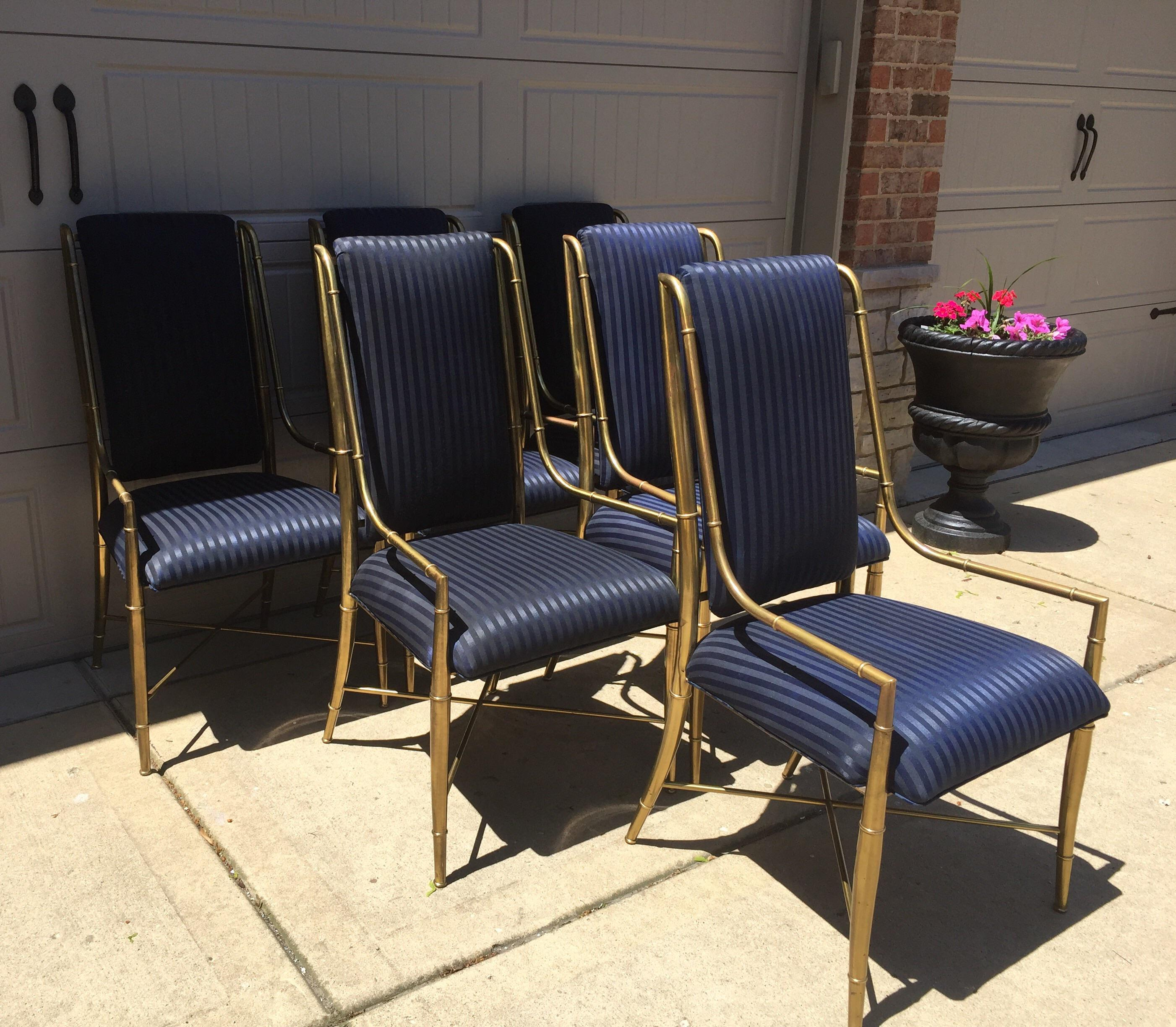 Vintage Mastercraft Brass Dining Chairs Set of 6 Chairish