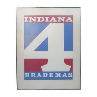 """Robert Indiana Signed Screen Print """"Indiana 4 Brademas"""""""