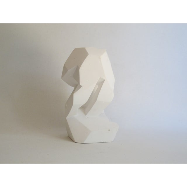 Abstract Cubist White Plaster Statue - Image 4 of 11