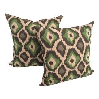 Organic Green Ikat Pillows - A Pair