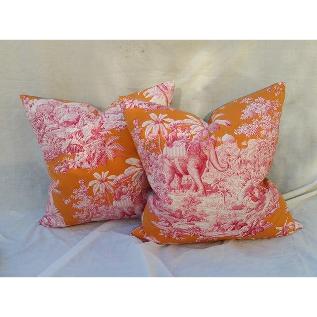 Pierre Frey Elephant Toile Pillow - Image 2 of 7