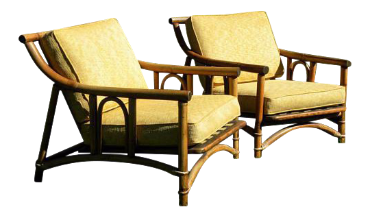 vintage set of ficks reed lounge chairs a pair
