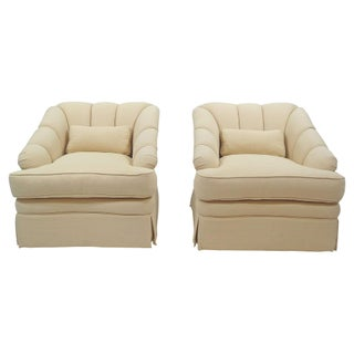 Channel-Back Swivel Club Chairs - A Pair