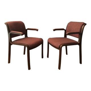 Thonet Bentwood Upholstered Arm Chairs- A Pair