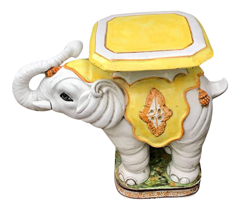 Terracotta Elephant Garden Stool