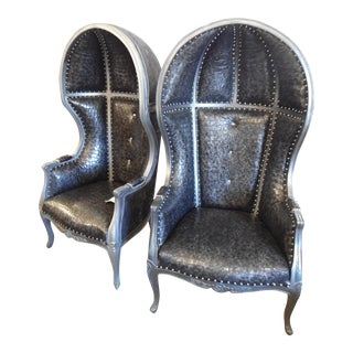Cindy Rocker Faux Croc Upholstered Canopy Dome Chairs- A Pair