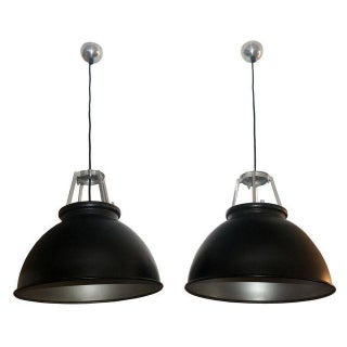 Industrial Black & Silver Light Fixtures - A Pair