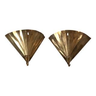 Vintage Brass Fan Sconces Candlesticks - A Pair