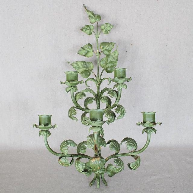 Italian Baroque Green Gilt Candelabra/Wall Sconce - Image 2 of 8