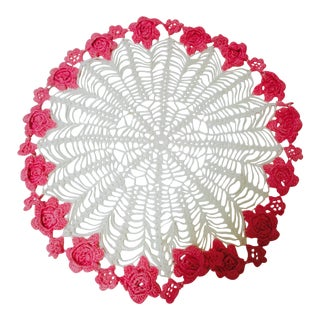 Vintage Pink & White Table Doily