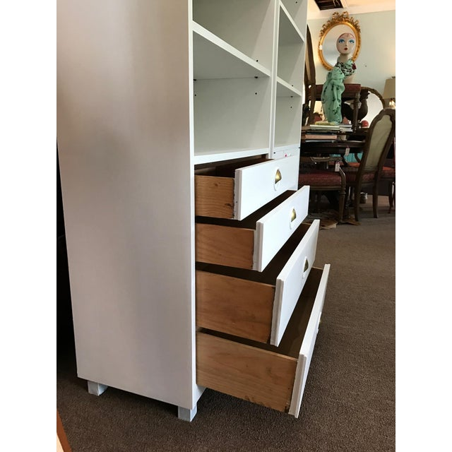 Mid-Century Modern Satin White and Zinc Cabinets - A Pair - Image 7 of 9