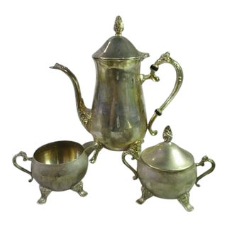 Antique International Silver Co. Teapot Set - 3 Serving Pcs