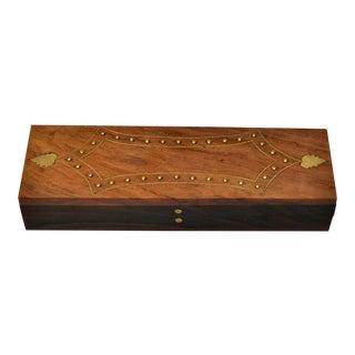 Vintage Handmade Hardwood and Brass Inlay Box