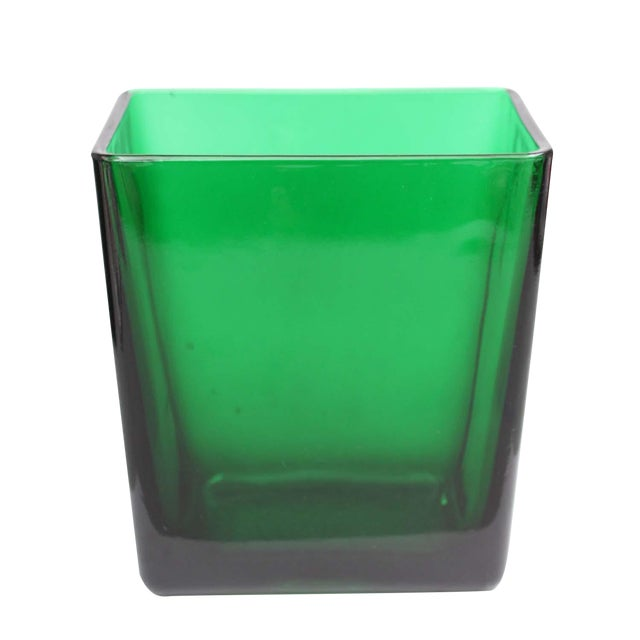 Emerald Green Tall Rectangular Vase - Image 1 of 4