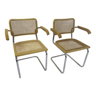 Marcel Breuer Cesca Arm Chairs by Gavina