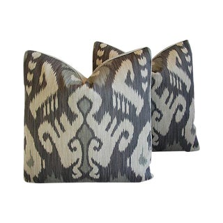 Custom Tailored Castel Gray/Taupe Radha Ikat Feather/Down Pillows - Pair